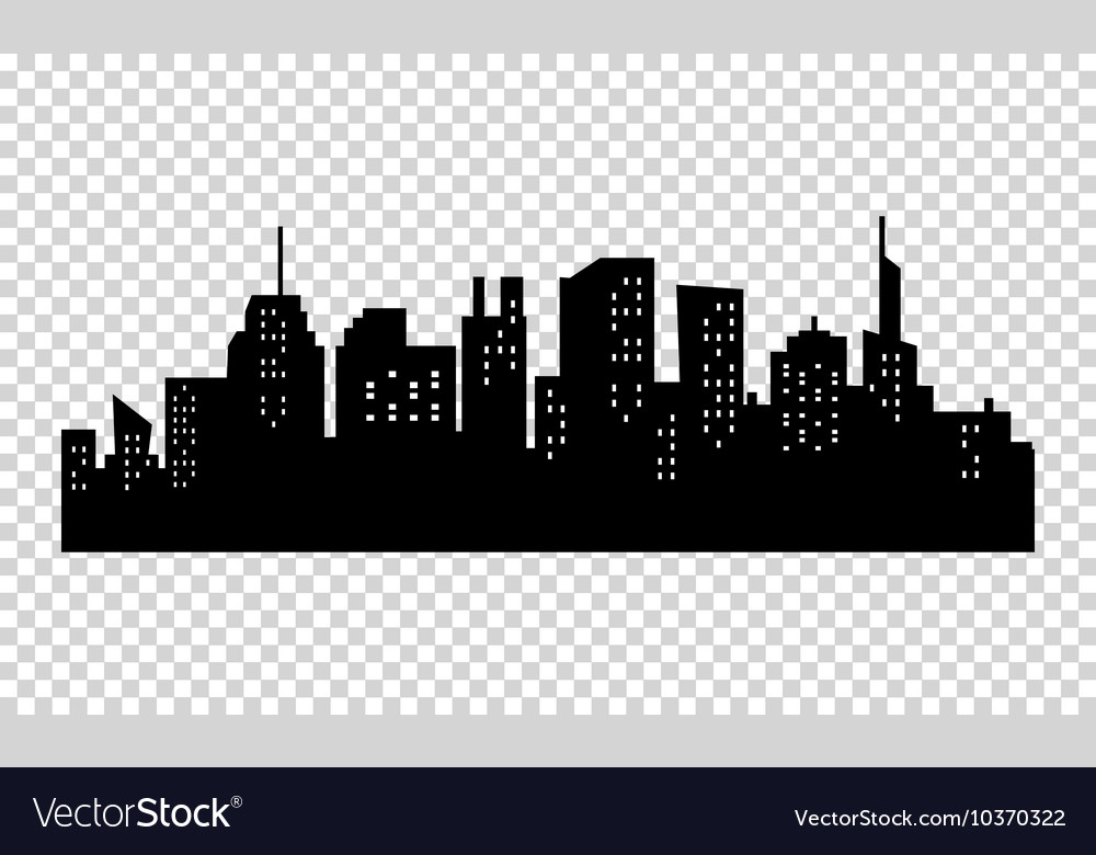 Black and white sihouette of big city skyline