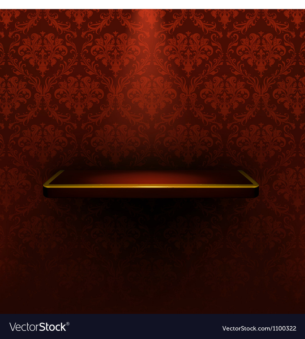Empty shelf red luxury vector image