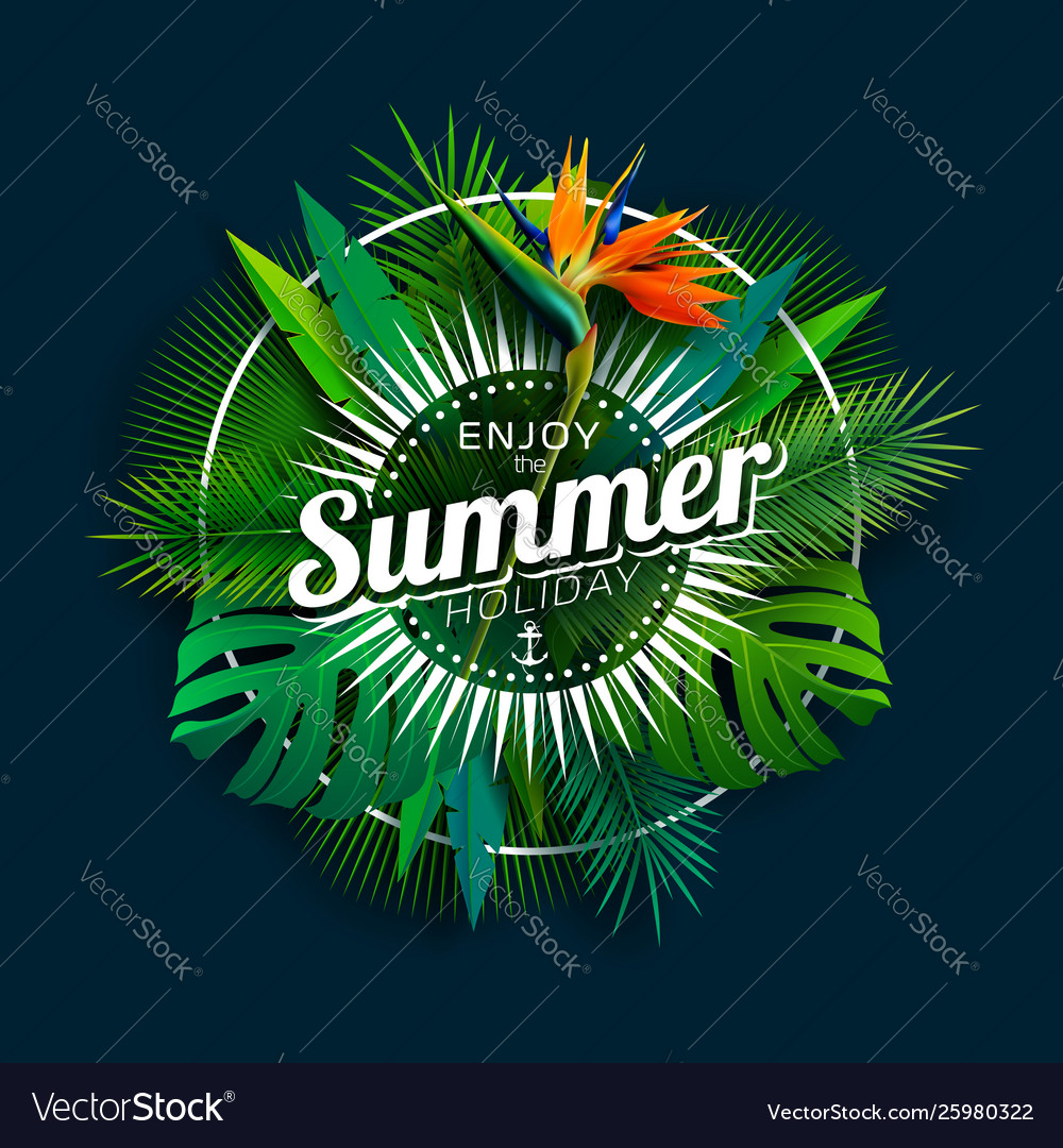 Enjoy summer holiday design with parrot flower