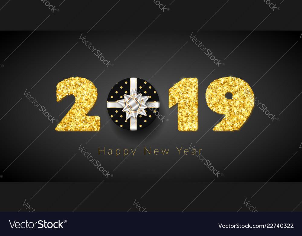 Happy new year card 3d gift box ribbon bow gold