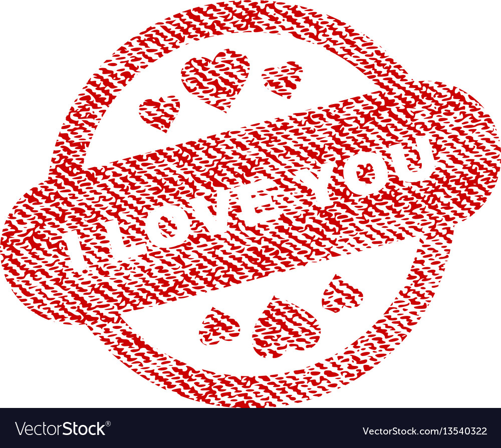 I love you stamp seal fabric textured icon vector image
