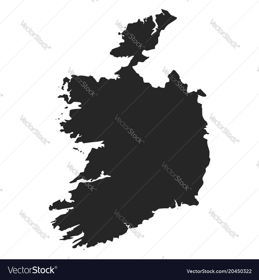 Simple Map Of Ireland.Ireland Map Simple Black White Silhouette Vector Image