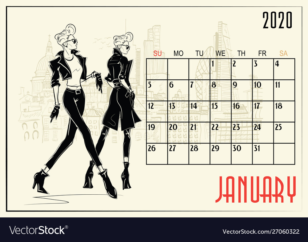 January 2020 calendar with fashion girl Royalty Free Vector