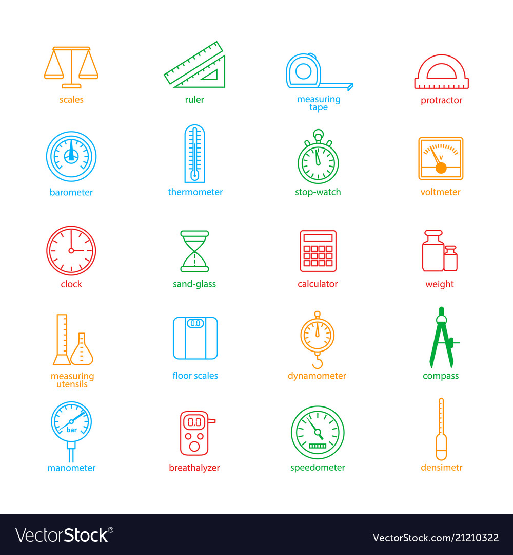 Measuring signs color thin line icon set
