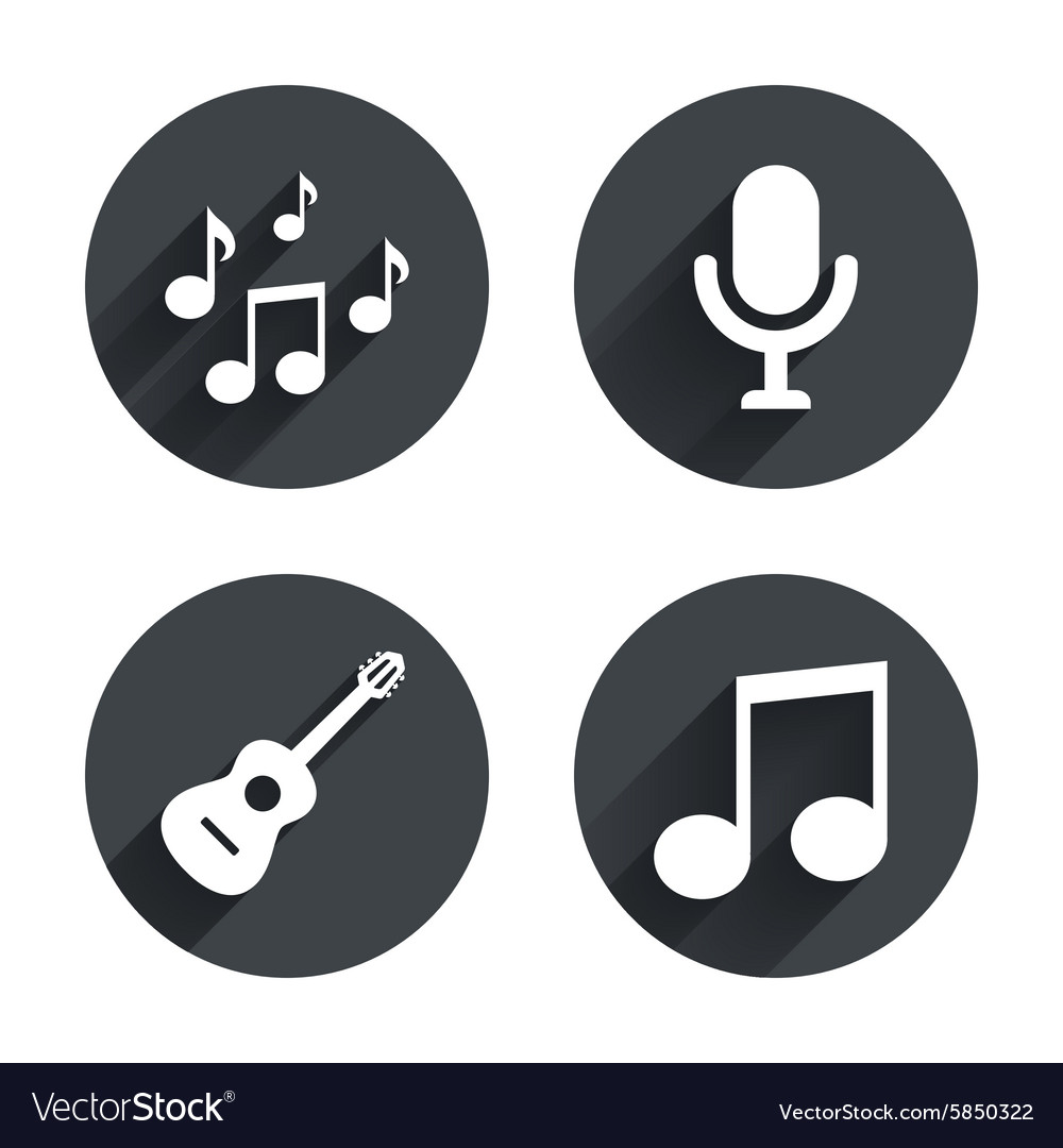 Music icons Microphone Acoustic guitar