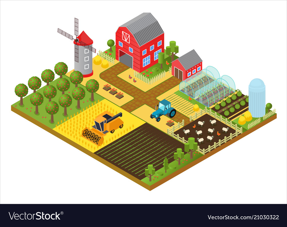 Rural farm 3d isometric template concept with mill