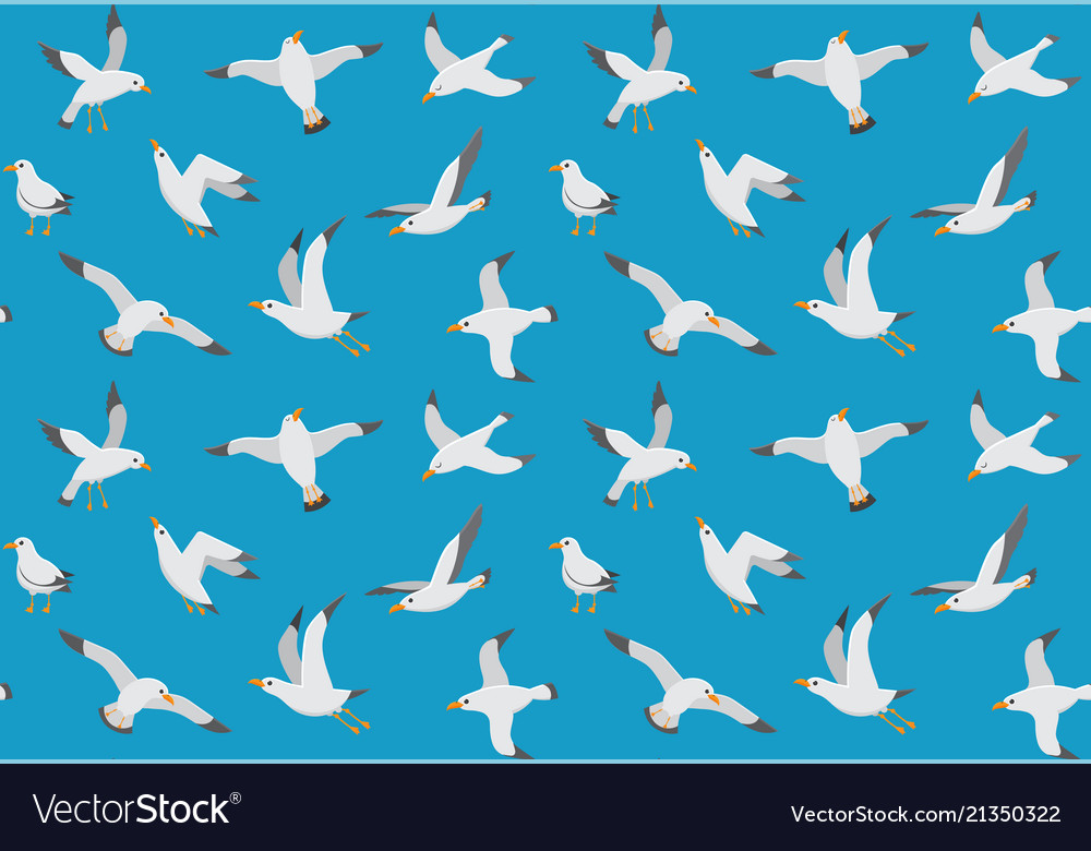 Seagulls seamless pattern cartoon gull flying