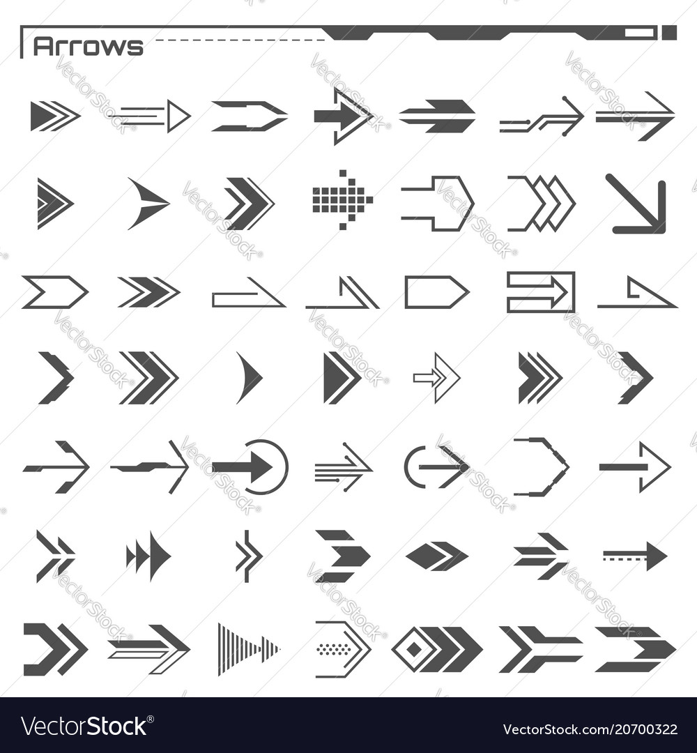 Set of black hud arrows elements futuristic user