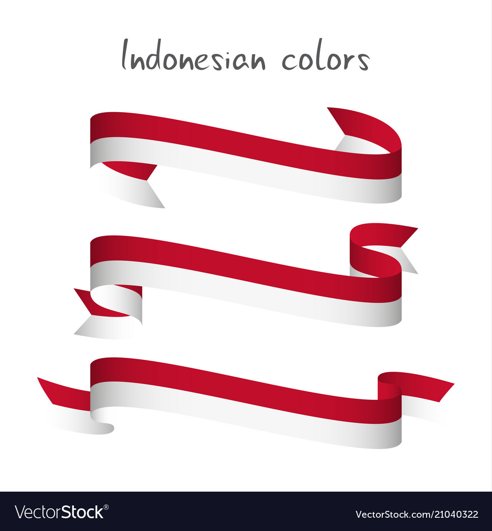 set of three modern colored indonesian ribbon vector image vectorstock