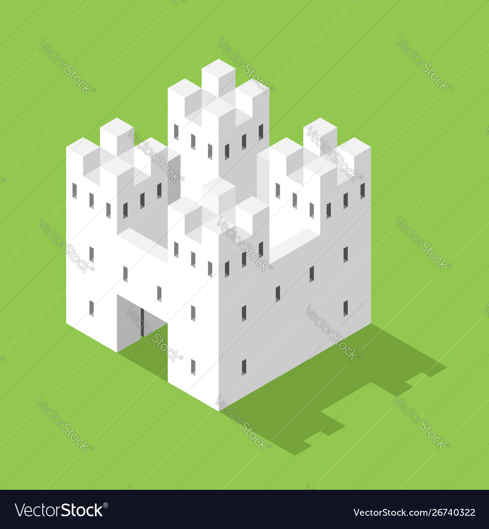 Simple white isometric castle