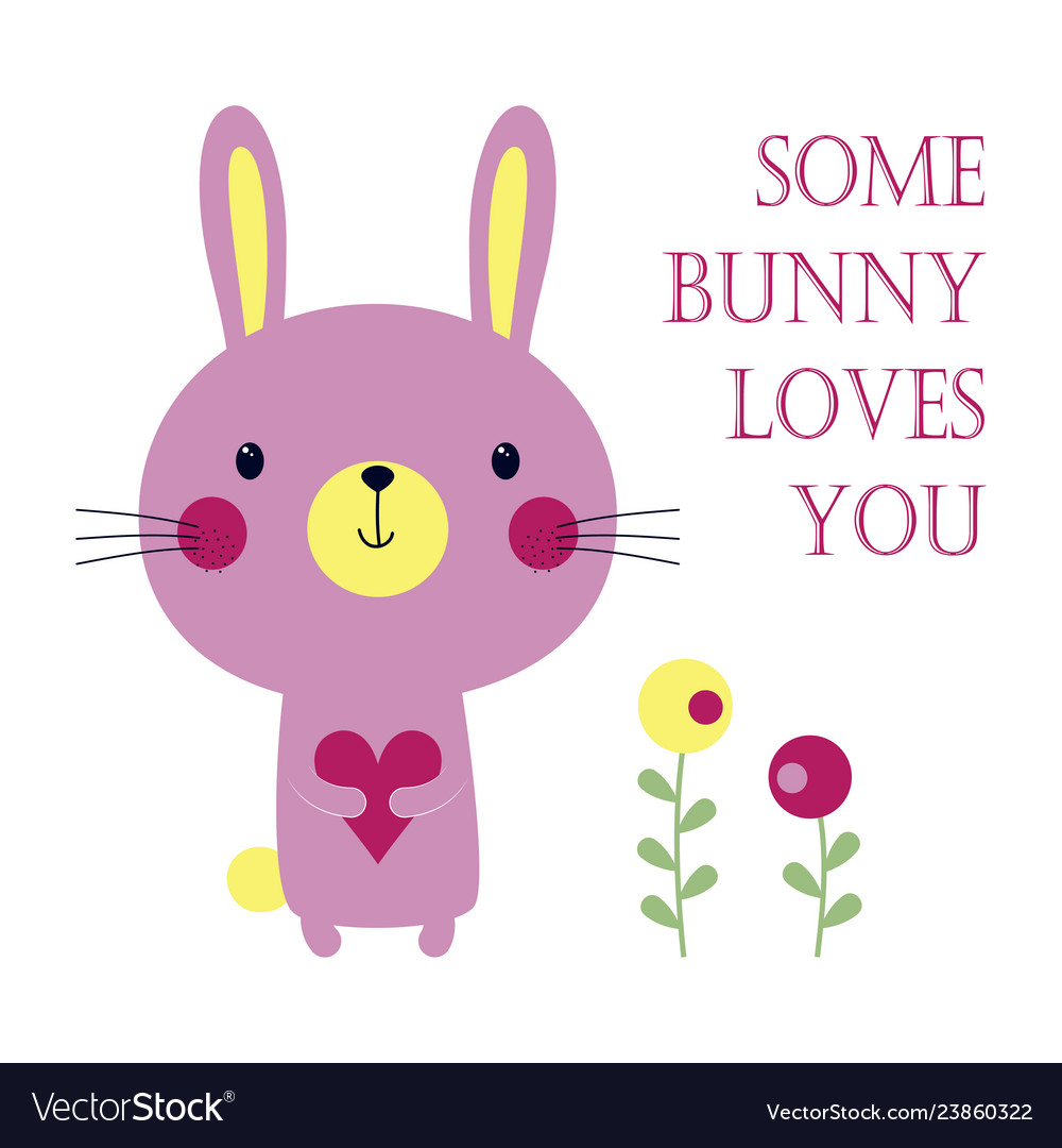 Valentines card with bunny