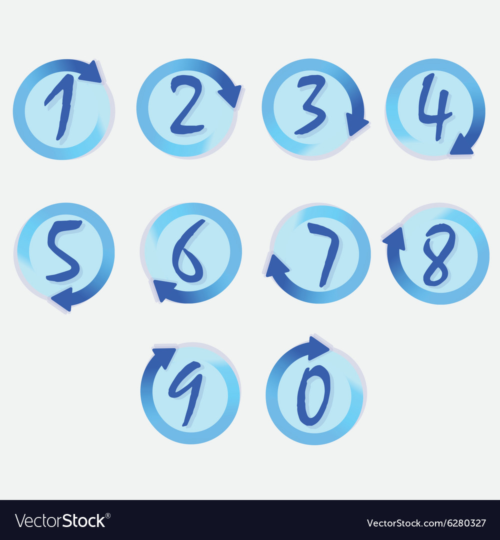 Blue circle hand written brushed numbers set
