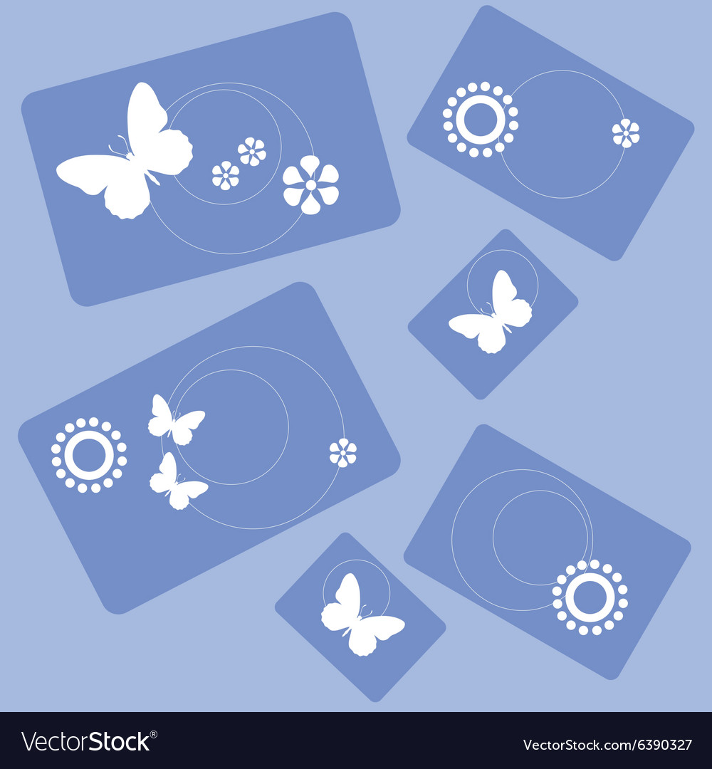 Butterfly and flowers rectangle design 001 vector image