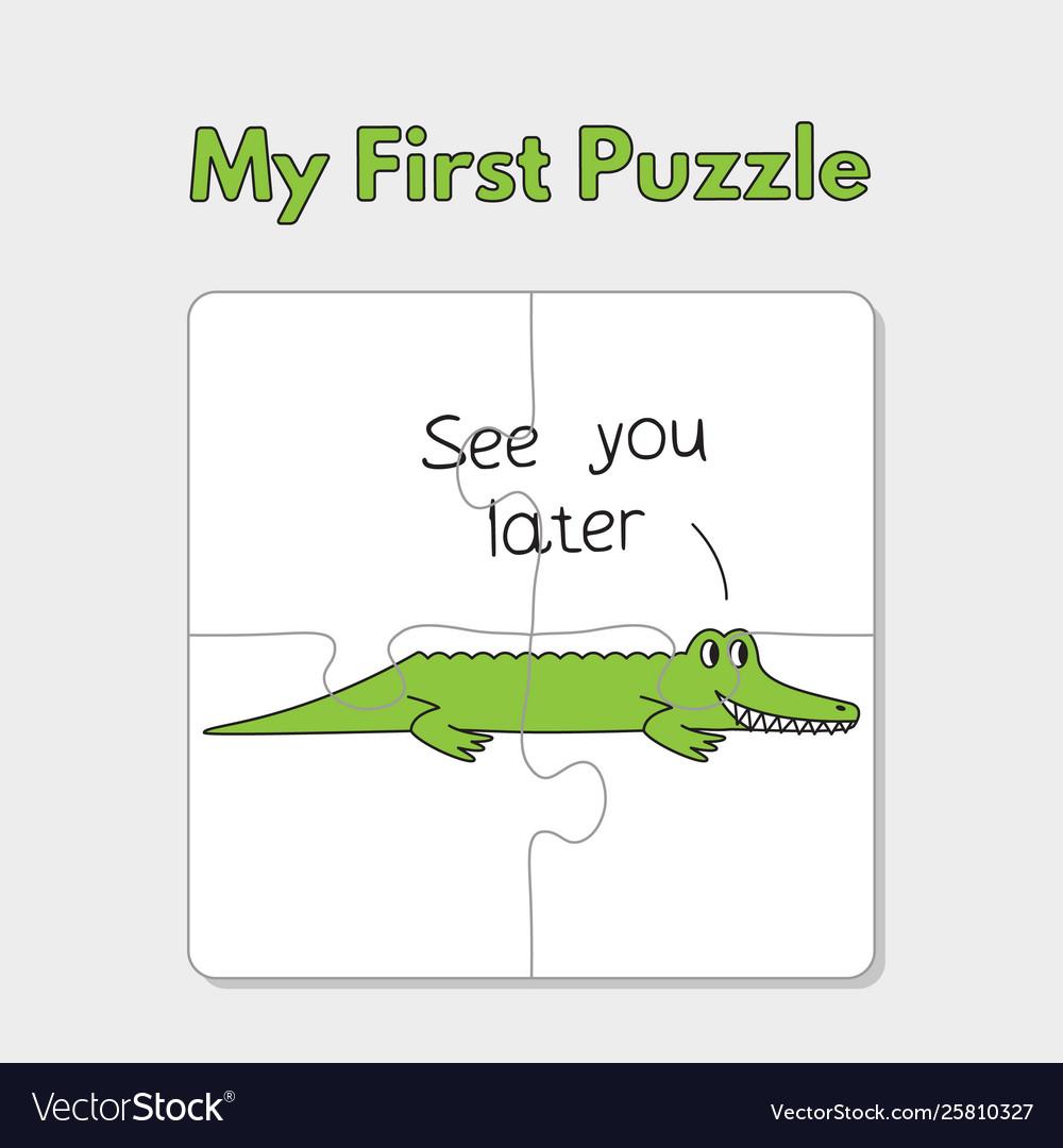 Cartoon alligator puzzle template for children