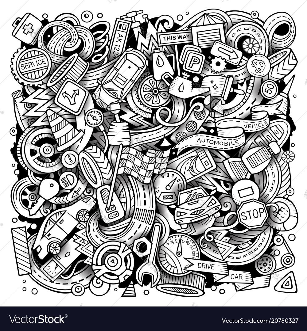 Cartoon doodles automotive