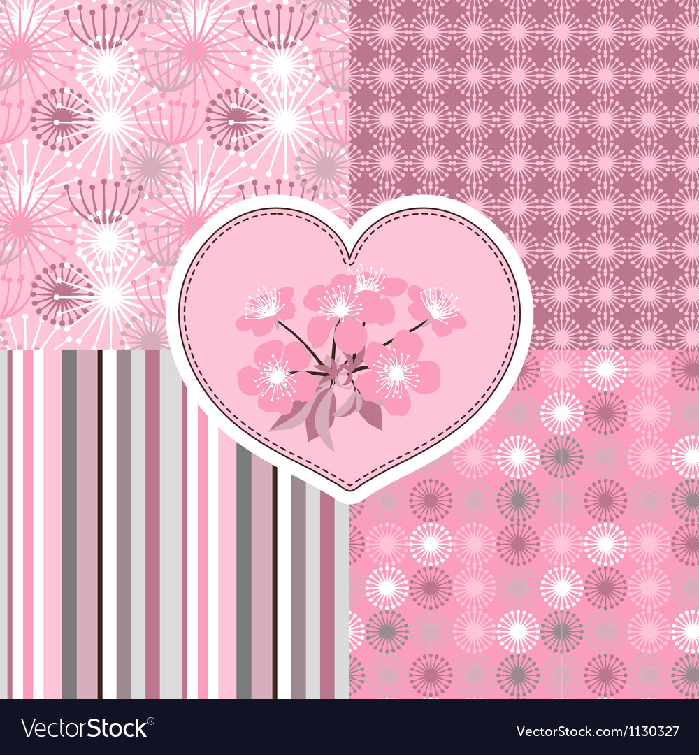 Cherry blossom seamless stylized flowers 4