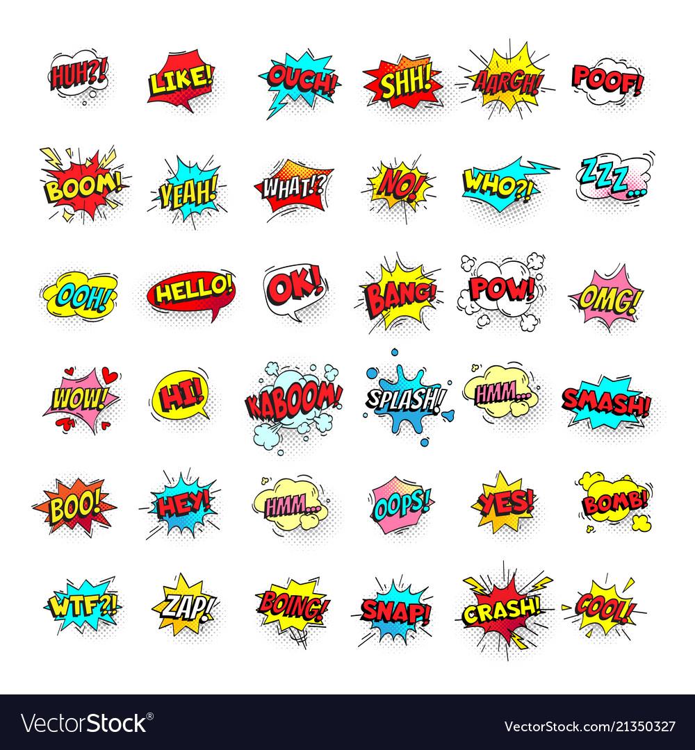 Comic bubbles cartoon text balloons pow and zap