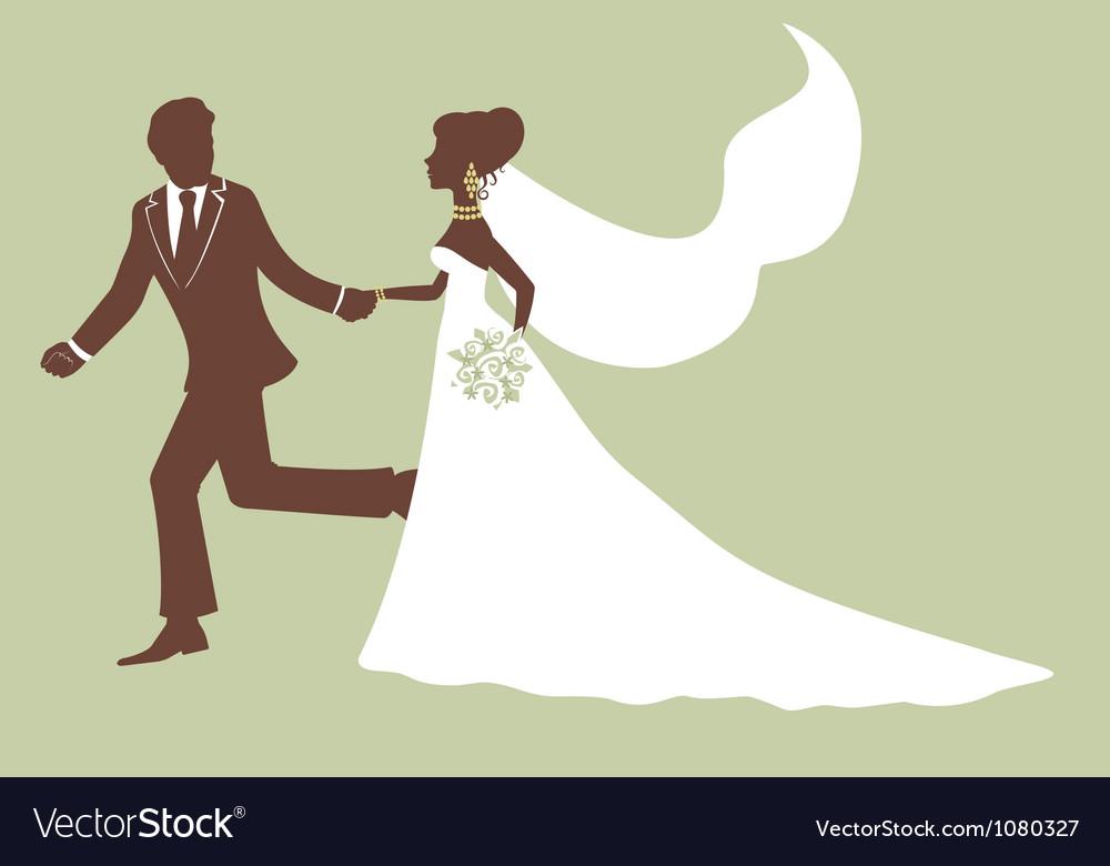 Elegant bride and groom running