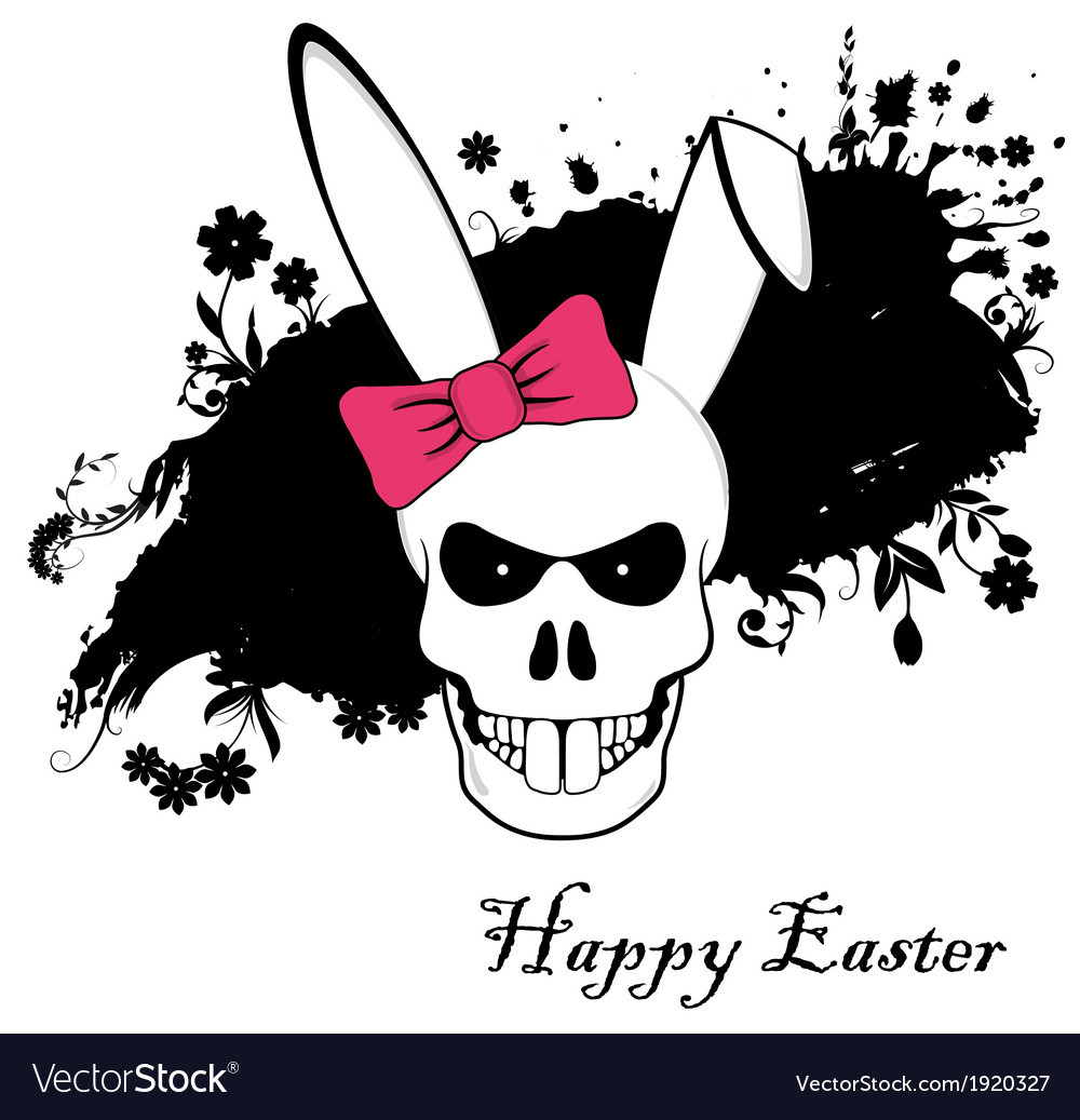 Funny Easter Bunny skull with red bow