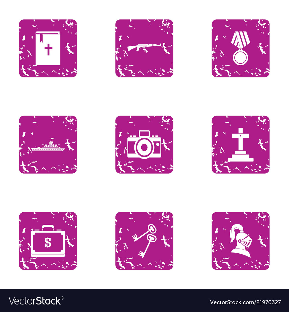 Gratuity Icons Set Grunge Style Royalty Free Vector Image