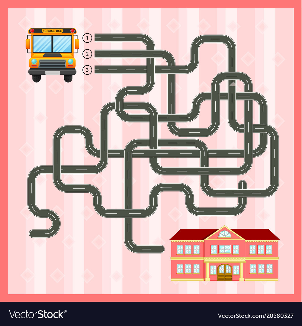 Maze game template with school bus Royalty Free Vector Image