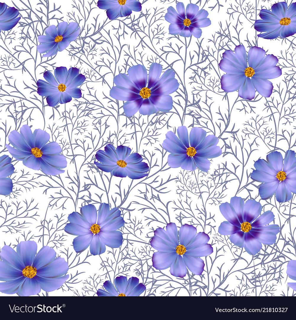 Seamless floral background with beautiful blue