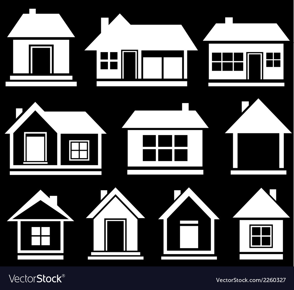 set white house silhouette royalty free vector image rh vectorstock com house silhouette vector free download haunted house silhouette vector
