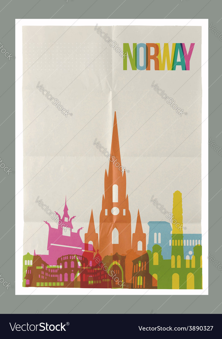 Travel Norway landmarks skyline vintage poster