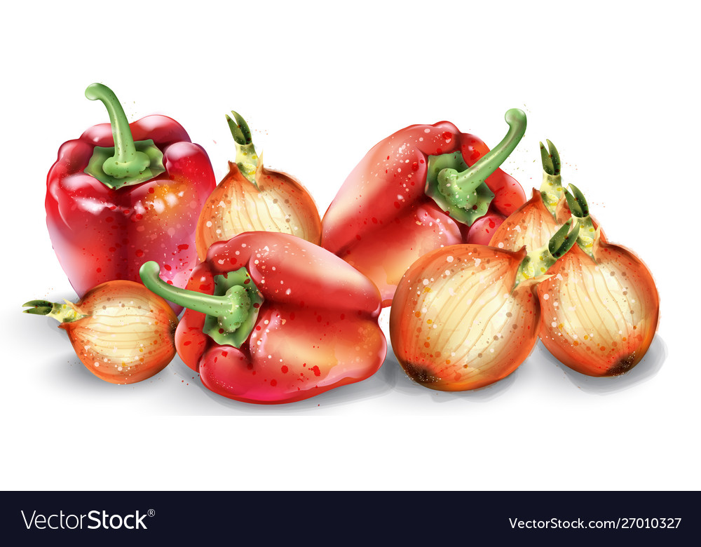 Vegetables watercolor poster delicious tomatoes