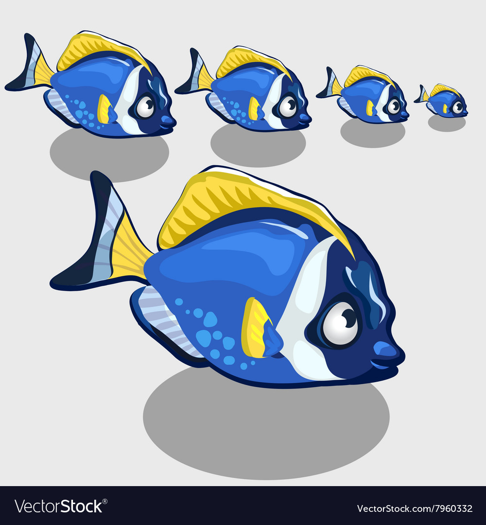 Blue tropical fish isolated icon set