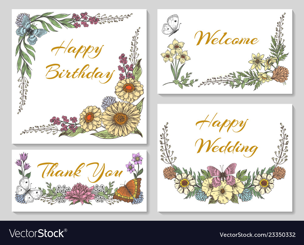 Botanic card with wild flowers