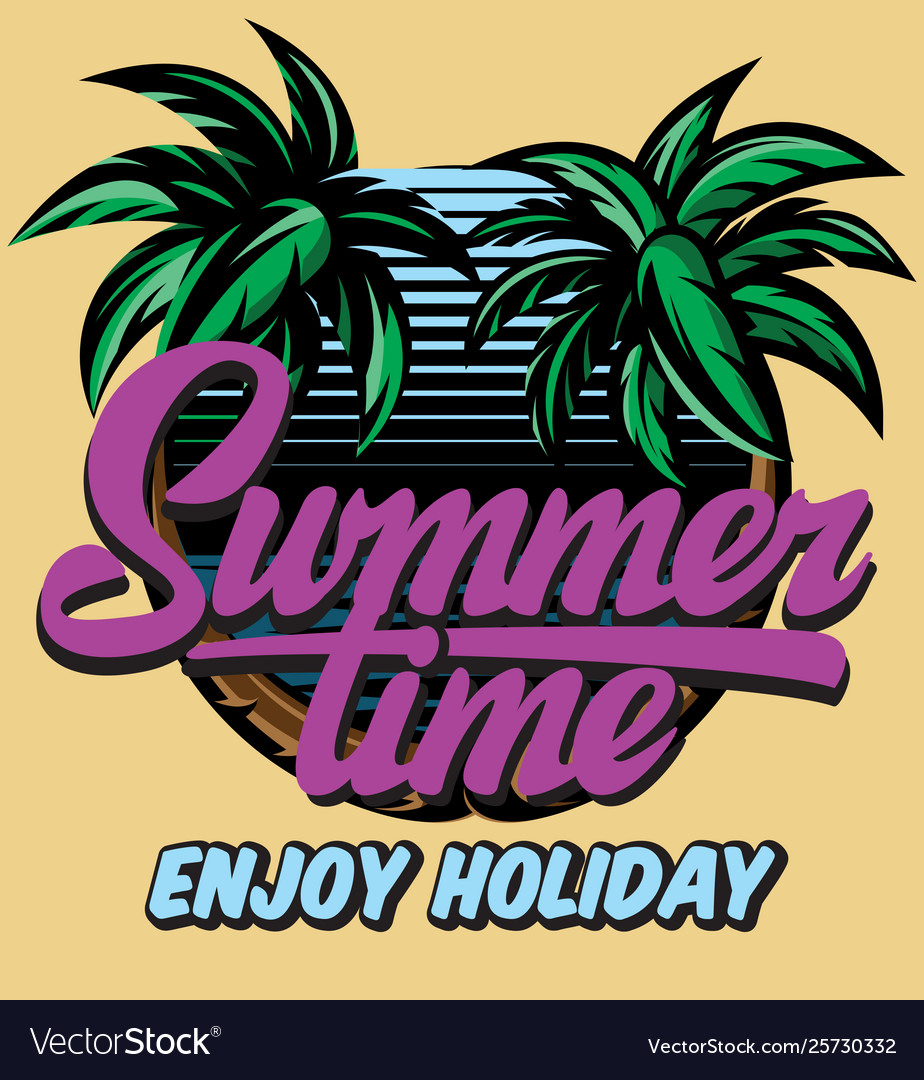 Color poster template for summer time party with
