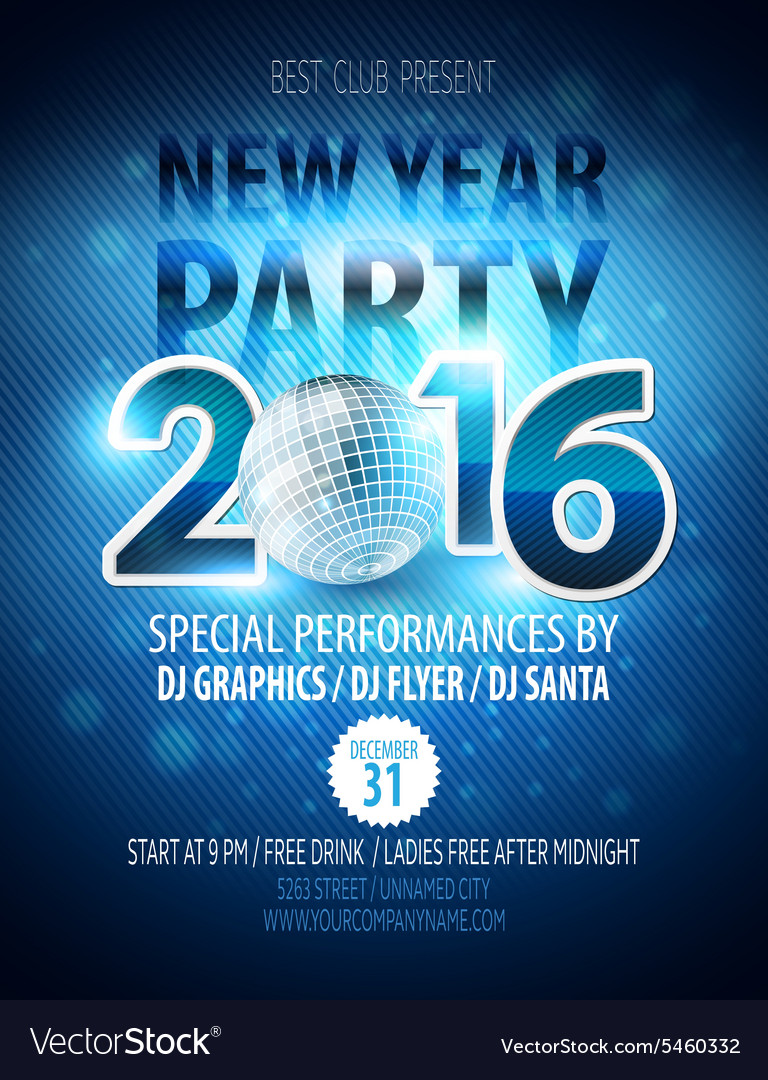 happy new year party poster template royalty free vector
