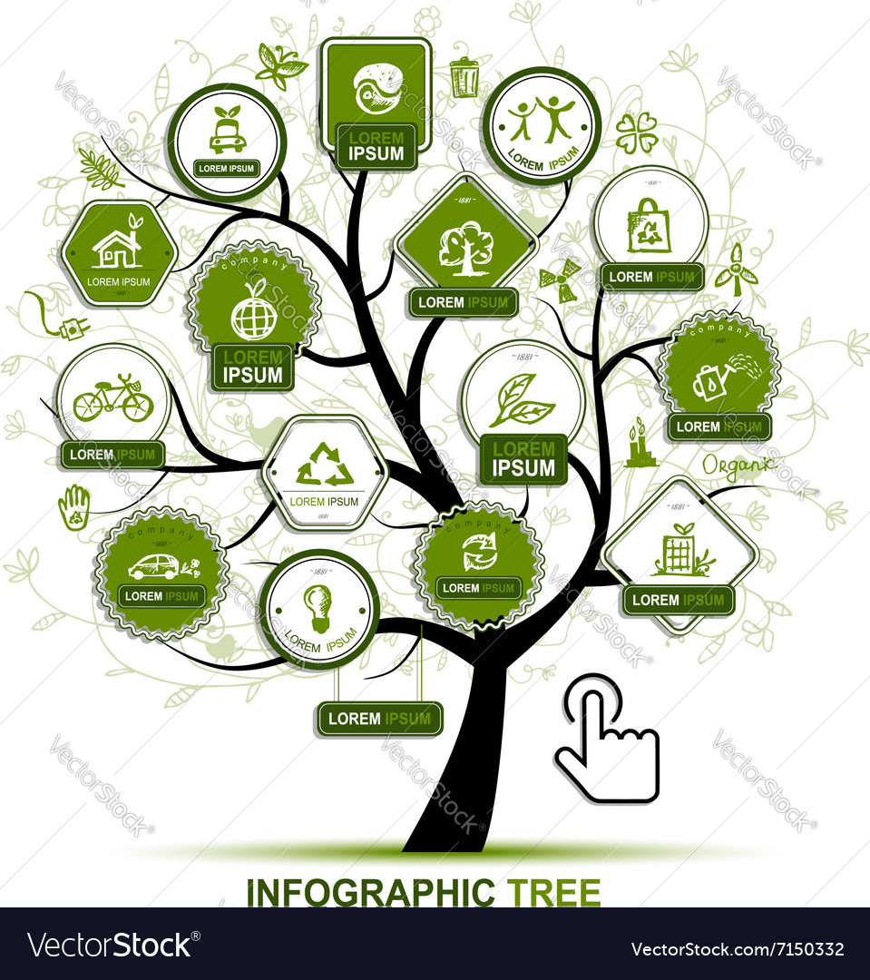 Infographic concept - tree with ecology icons for