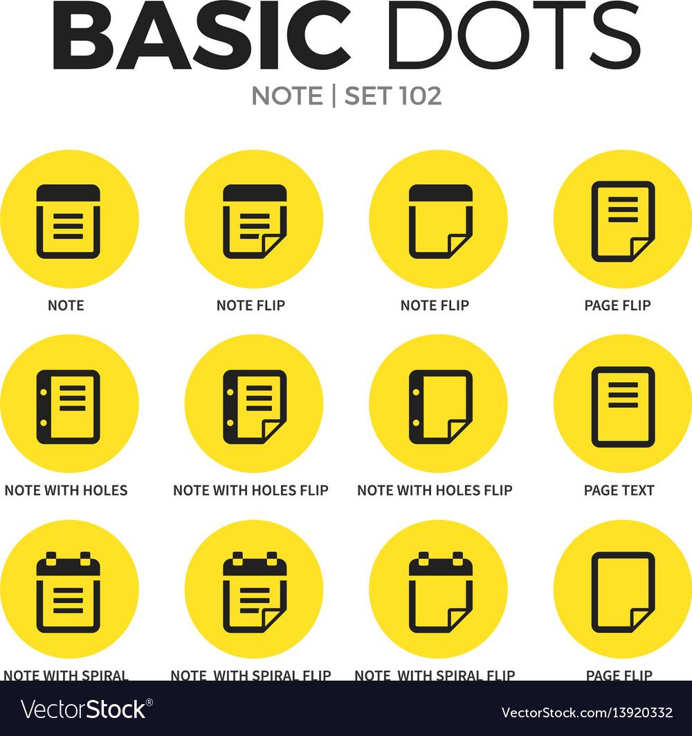 Note flat icons set