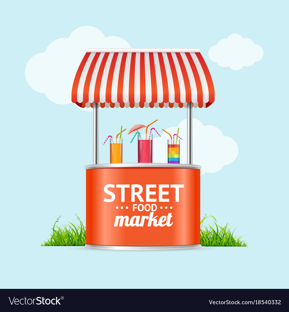 Realistic detailed 3d street fast food market