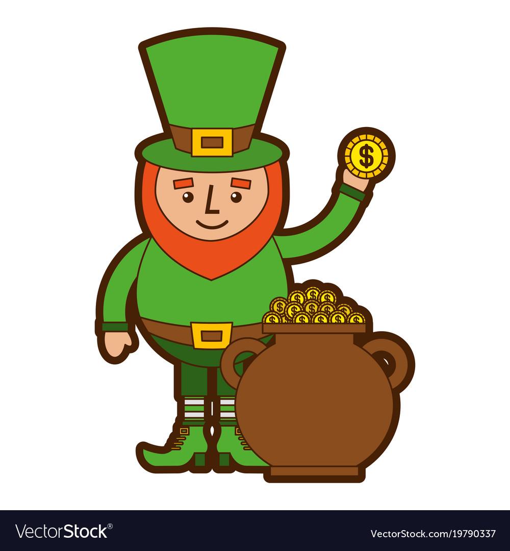 cartoon leprechaun holding gold coin and pot money rh vectorstock com Leprechaun Jokes Irish Leprechaun