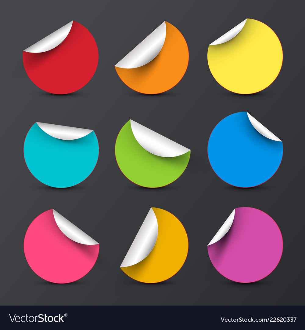 Colorful circle empty stickers with bent corners