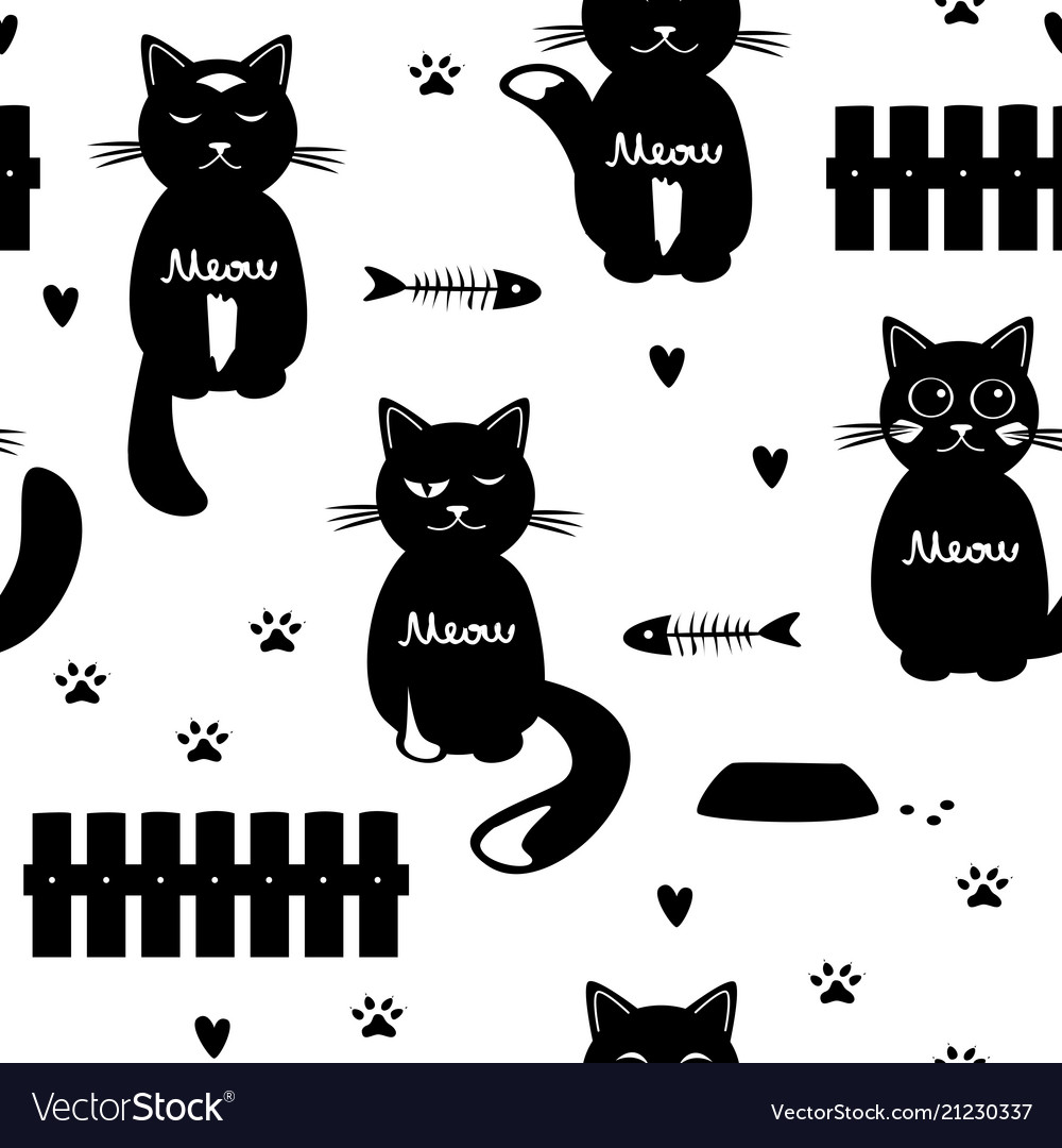 Cute cats seamless pattern black and white