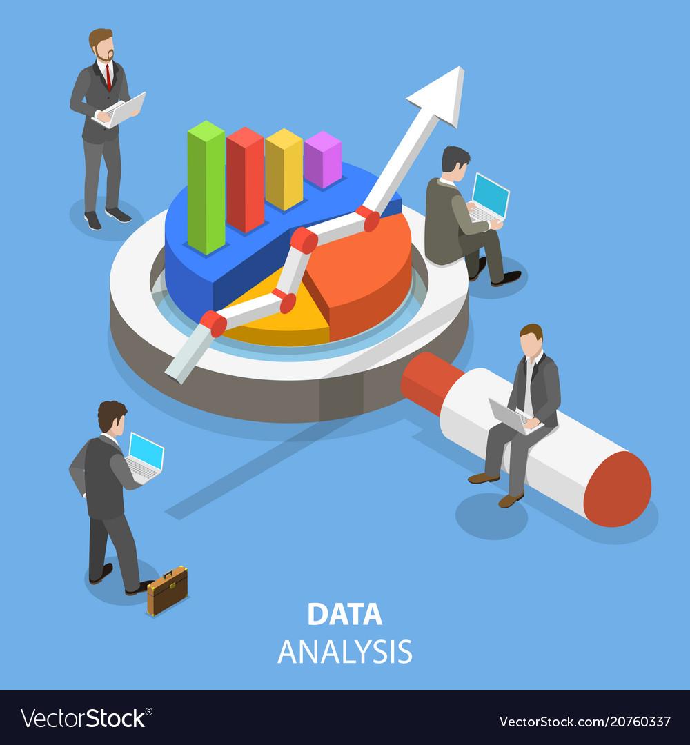 Data analysis flat isometric concept