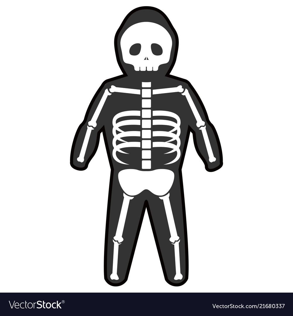 Isolated Halloween Skeleton Costume Royalty Free Vector