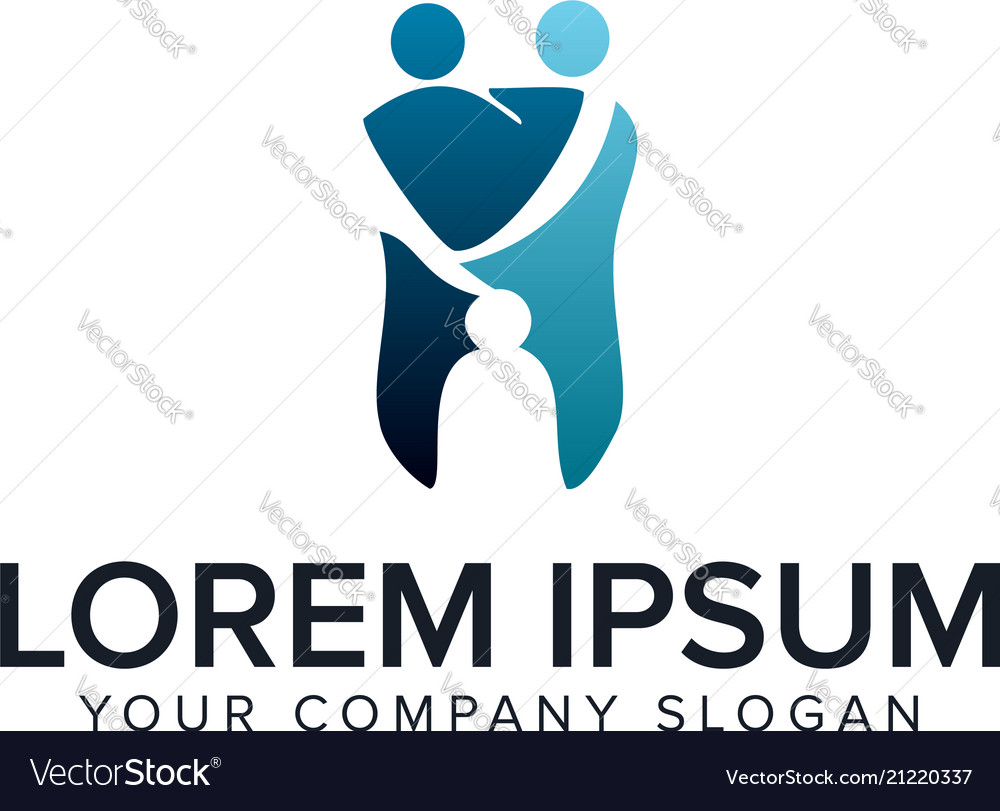 Medical dental people logo design concept template vector