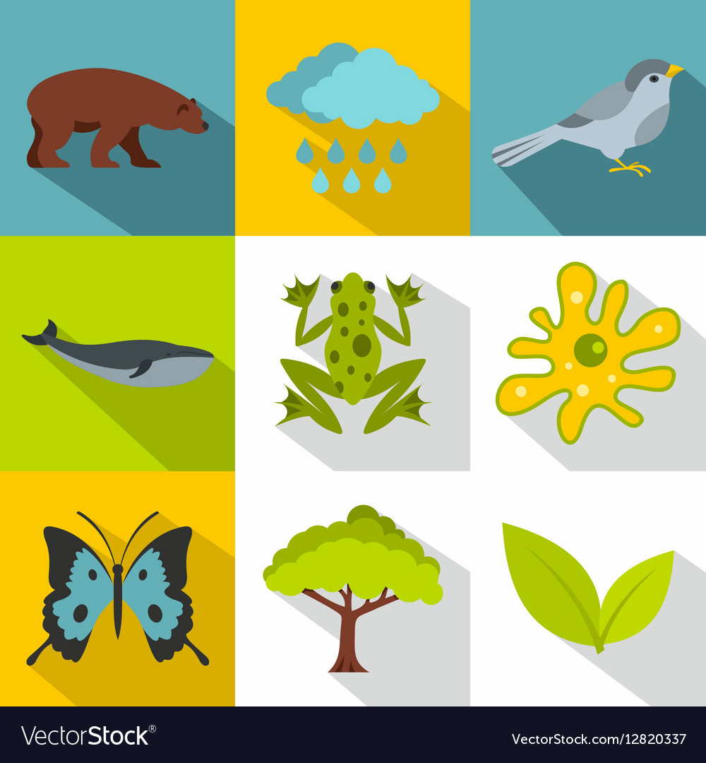 Nature icons set flat style vector image