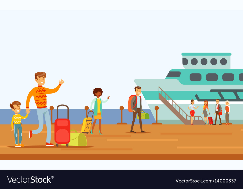Passengers boarding large ship part of people