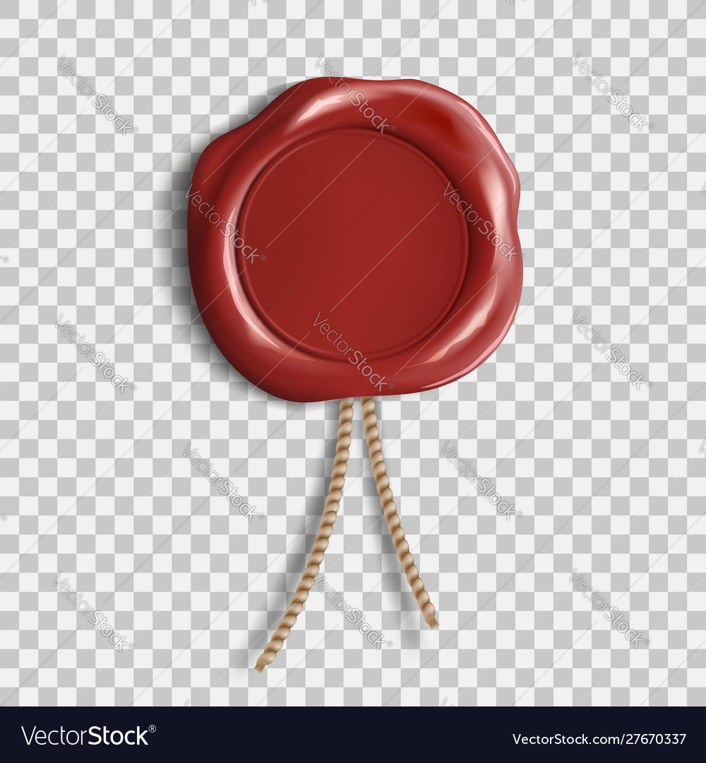 Red wax seal template isolated on transparent