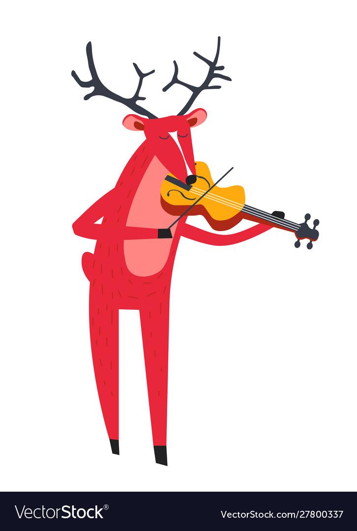 Reindeer playing violin and animal with music