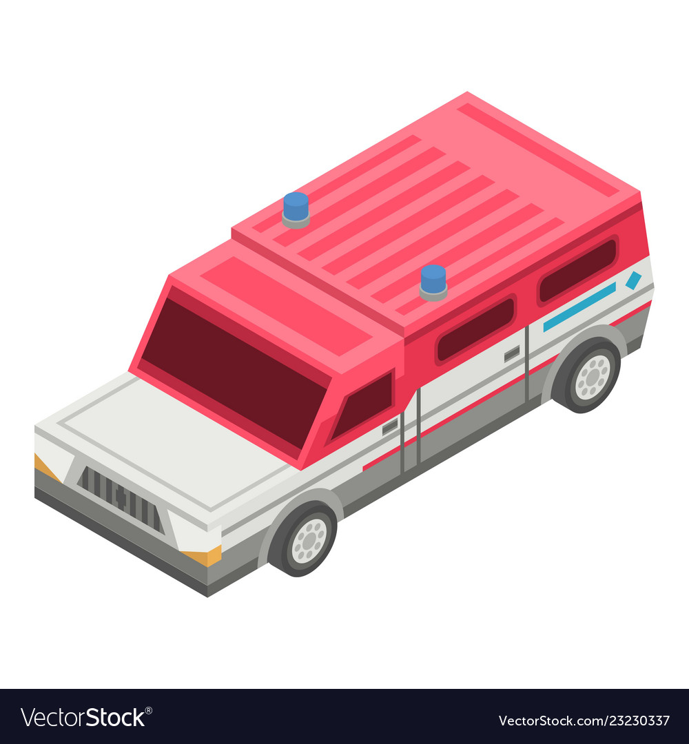 Rescue truck car icon isometric style