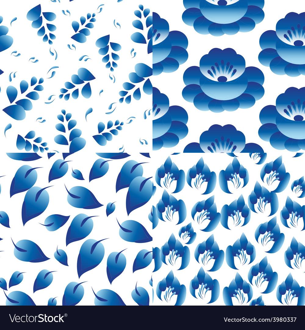 Set of 4 seamless patterns Vintage folk flowers
