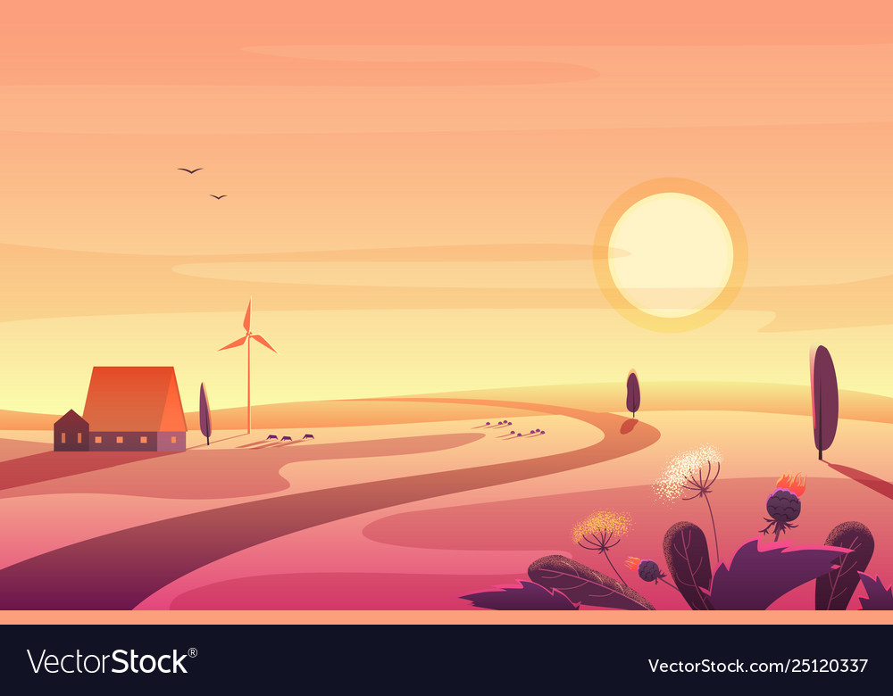 Solar rural landscape in sunset with hills small