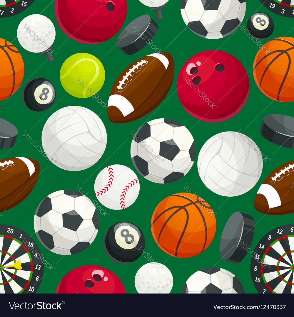 Sport balls and equipment seamless pattern